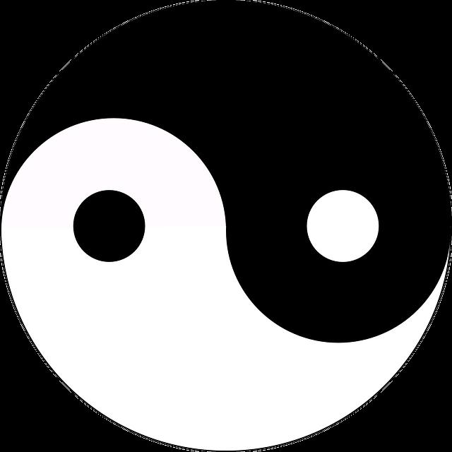 verschil yin yang yoga zwart wit teken
