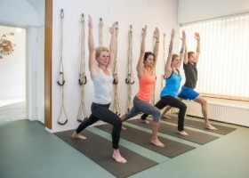 Charles-Hond-Iyengar-Yoga-Rotterdam-vier-mensen-doen-staande-yogahouding Wereld van Yoga